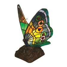 Tiffany Style Butterfly Accent Table Lamp with 13 Cabochons