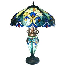 "Tiffany 26"" H Style Victorian Double Lit Table Lamp with 30 Cabochons"