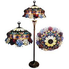 Tiffany Style Roses Scalloped Floor Lamp