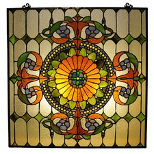 Tiffany Style Victorian Window Panel with 89 Cabochons