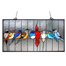 Tiffany Style Featuring Birds in the Cage Window Panel