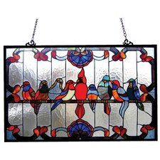 <strong>Chloe Lighting</strong> Tiffany Style featuring Gathering Birds Window Panel