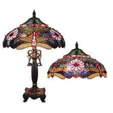 Tiffany Style Dragonfly Table Lamp with 128 Cabochons