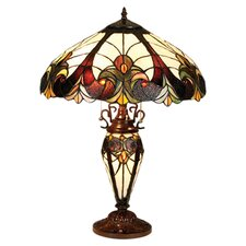 "Tiffany 25"" H Style Victorian Double Lit Table Lamp with 30 Cabochons"