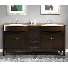 "<strong>Silkroad Exclusive</strong> Kelston 72"" Double Sink Cabinet Bathroom Vanity Set"