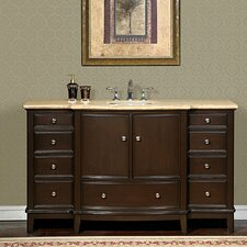 "<strong>Silkroad Exclusive</strong> Clarice 60"" Single Sink Cabinet Bathroom Vanity Set"