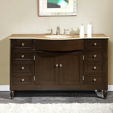 <strong>Silkroad Exclusive</strong> Kelston 58'' Single Sink Cabinet Bathroom Vanity Set