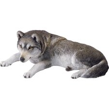 Companion Size Wolf Sculpture in Gray