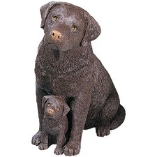 Forever Friends Labrador Retriever and Pup Sculpture in Chocolate
