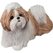 Mid Size Shih Tzu Sculpture in Gold / White