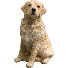 Mid Size Sitting Light Golden Retriever Sculpture