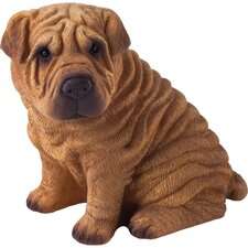 Mid Size Chinese Shar-Pei Sculpture in Red
