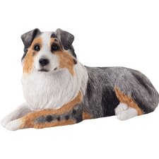 Mid Size Australian Shepherd Sculpture in Blue Merle