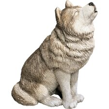 Mid Size Howling Wolf Sculpture in Gray