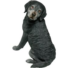 Original Size Sitting Labrador Retriever Sculpture in Black