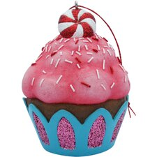 Peppermint Top Cupcake Christmas Tree Ornament