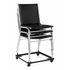 Armless Stacking Chair in Black Vinyl Upholstery