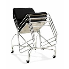 Armless Stacking Chair in Black with Tubular Steel Frame (Set of 2)