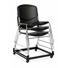 Stacking Chair with Black Plastic Seat and Back