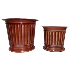 2 Piece Round Column Planter Set