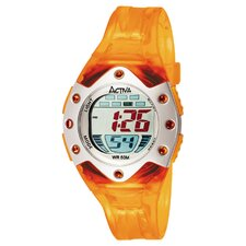 Midsize Plastic Digital Watch in Orange Translucent and Silver