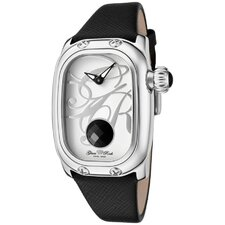 <strong>Glam Rock</strong> Women's Monogram Garnet Genuine Saffiano Watch