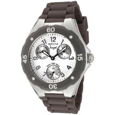Women's Angel Watch in White Dial Brown Silicon
