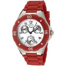 Women's Angel Watch in White Dial Red Silicon