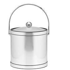 Mylar 3 Qt Ice Bucket with Lucite Cover in Brushed Chrome