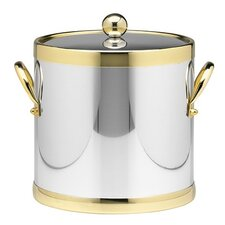 <strong>Kraftware</strong> Americano 3 Qt Ice Bucket with Brass Band in Chrome