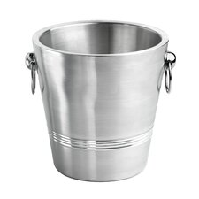 Double Wall Brushed Champagne Bucket with 3 Circle Polished