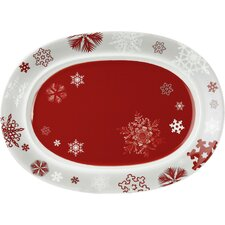 Snowflakes 40cm Plate in Red (Set of 2)
