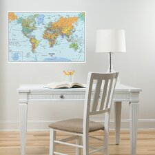 <strong>WallPops!</strong> World Dry-Erase Map Wall Mural
