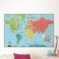 Dry Erase Kids World Map Wall Mural