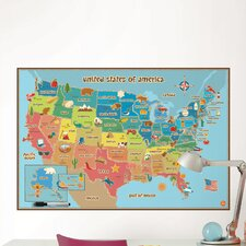 Dry Erase Kids USA Map Wall Mural