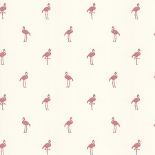 Destinations by the Shore Flamingo Print Wallpaper