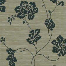 Ink Open Floral Vine Foiled Wallpaper