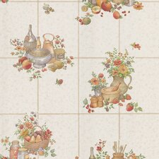 <strong>Brewster Home Fashions</strong> Kitchen and Bath Resource II Tile with Food and Floral Print Wallpaper