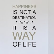 Euro Happiness Is Not A Destination Quote Wall Decal