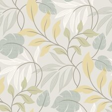 Simple Space II Eden Modern Leaf Trail Floral Wallpaper