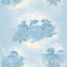 Kitchen & Bath Resource III Alcott Tropical Dolphin Wallpaper