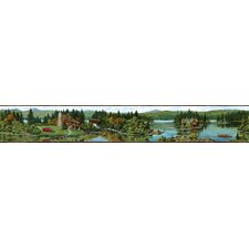 Northwoods Cabin Scenic Nature Border Wallpaper