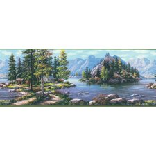 <strong>Brewster Home Fashions</strong> Northwoods Cabin Scenic Mountain Wilderness Border Wallpaper