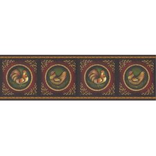 New Country Rooster Cameo Border Wallpaper