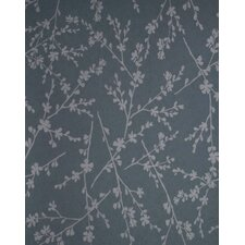 Verve Twiggy Wallpaper in Silver / Aquamarine Blue