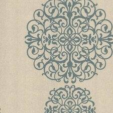 Salon Medallion Damask Wallpaper