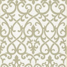 Serene Ironwork Damask Wallpaper in Olive