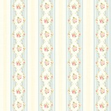 <strong>Brewster Home Fashions</strong> Springtime Cottage Mini Floral Stripe Wallpaper