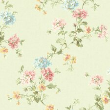 <strong>Brewster Home Fashions</strong> Springtime Cottage Geranium Trail Floral Wallpaper