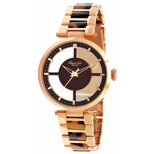 Women's Plastic Bracelets Watch in Brown and Rose Gold